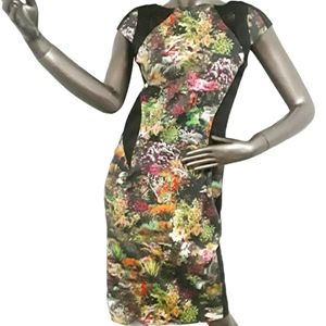 Mario Serrani Italian Floral & Black Dress Sz 4